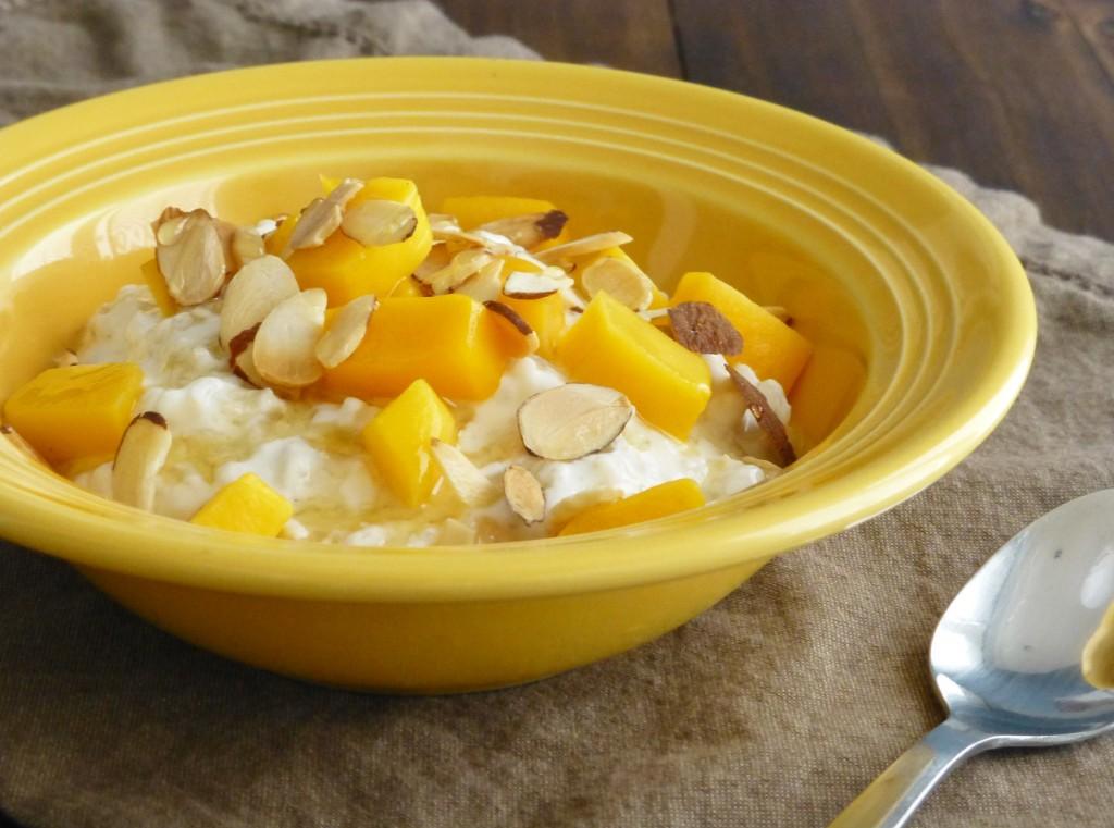 mango brown rice breakfast bowl